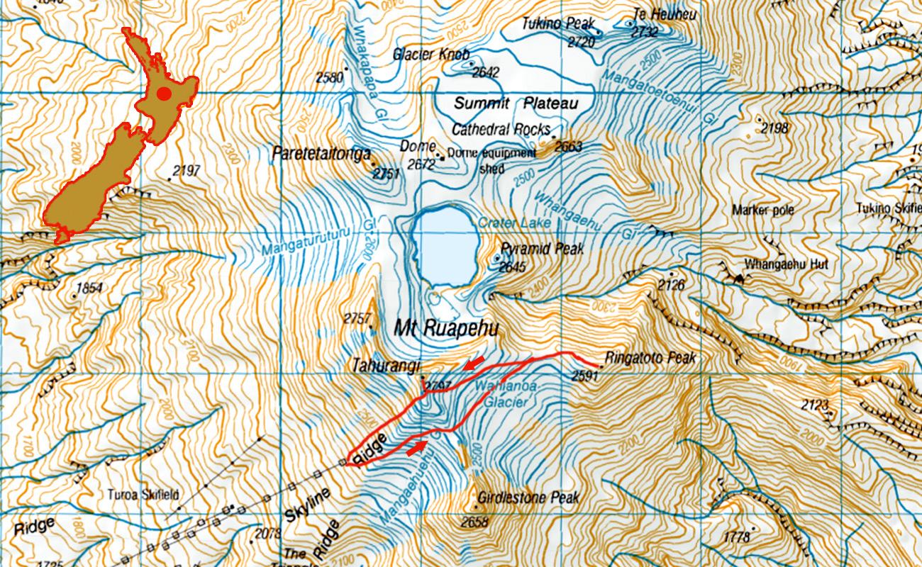 Ruapehu-Mitre-Peak-route