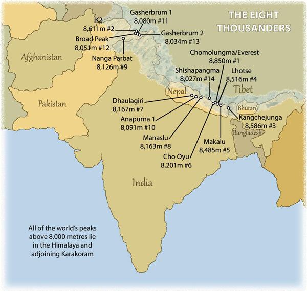 Where Are The Himalayas Located On A World Map.Himalaya Karakoram Tibet Mountain Images Information