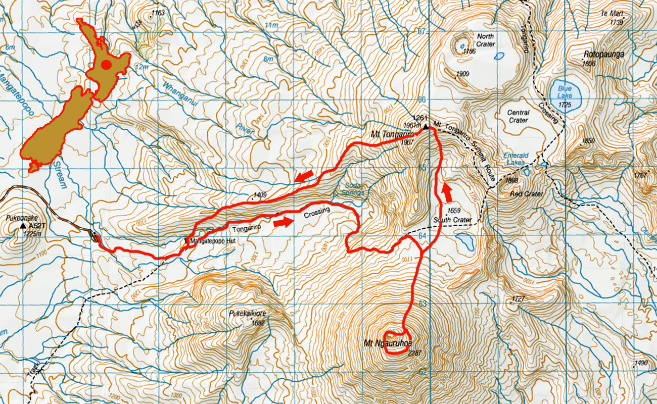 Tongariro-Ngauruhoe-Tongariro-route