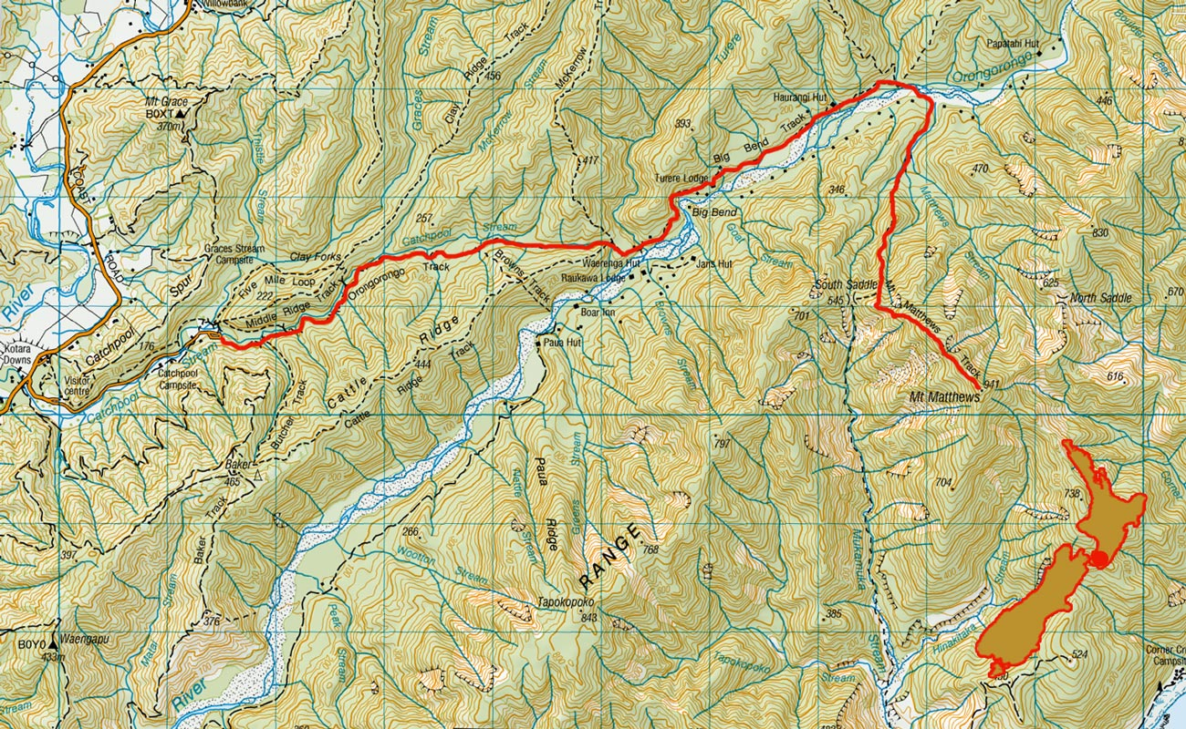 Oronogorongo New Zealand mountain images and route map