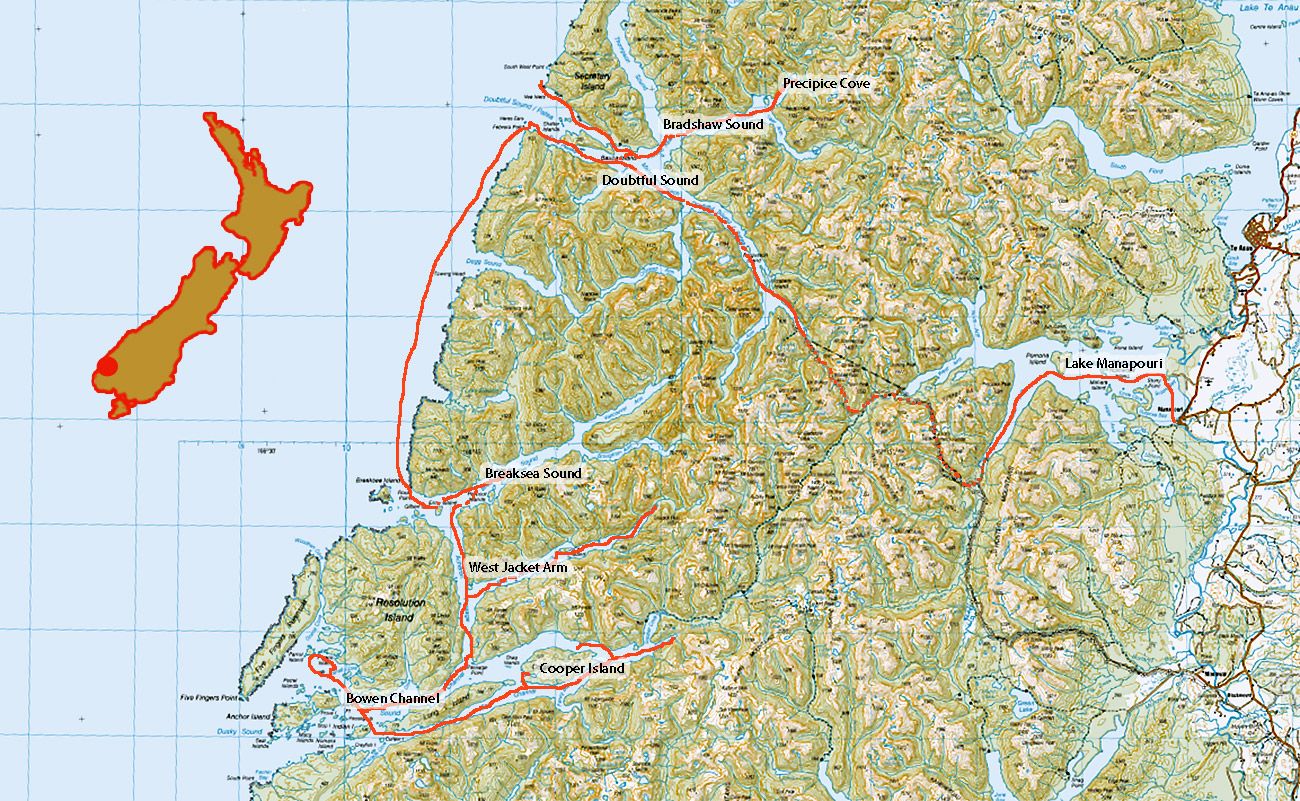 Map of route in the fiords of Fiordland New Zealand - occasionalclimber.co.nz