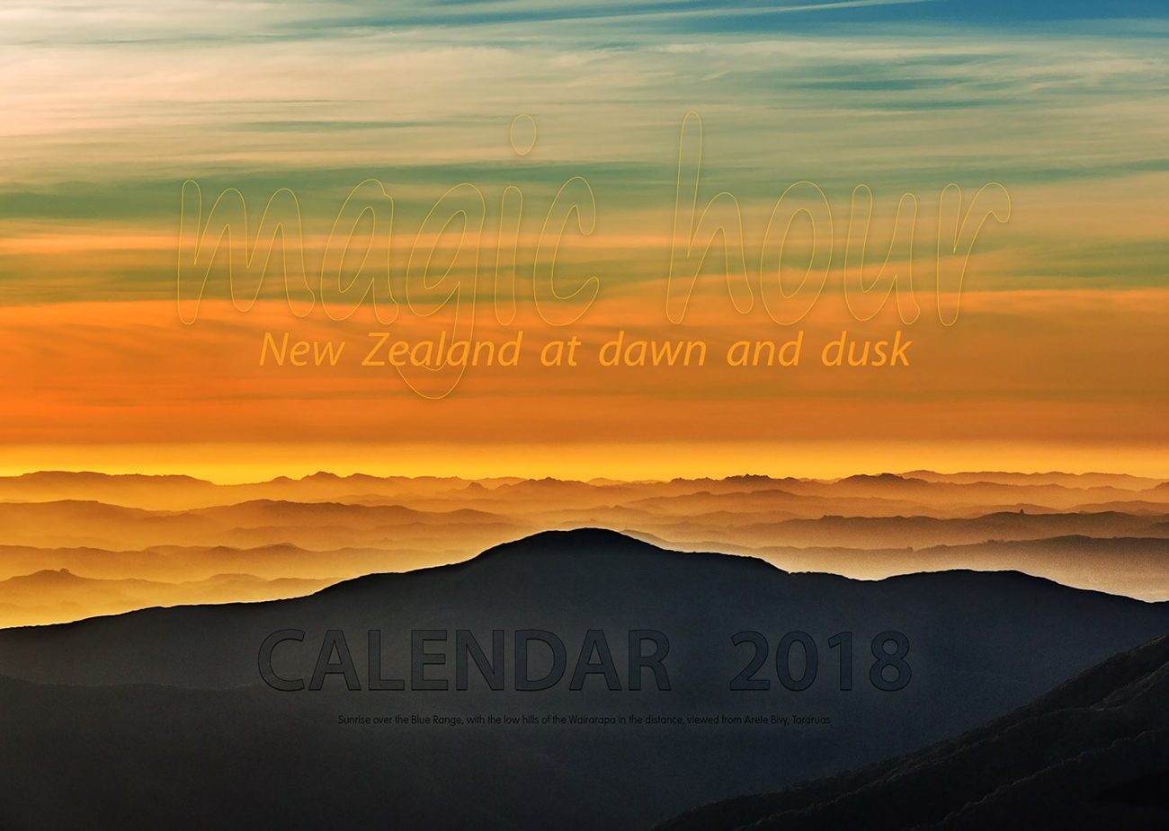 Generously sized beautiful New Zealand sunrise and sunset image 2018 calendar - occasionalclimber.co.nz