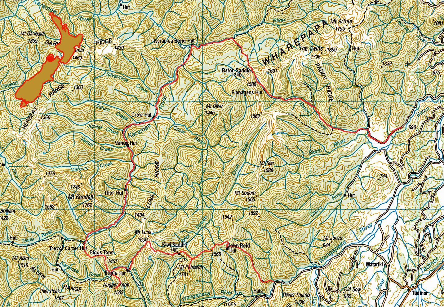 Kahurangi New Zealand mountain route map