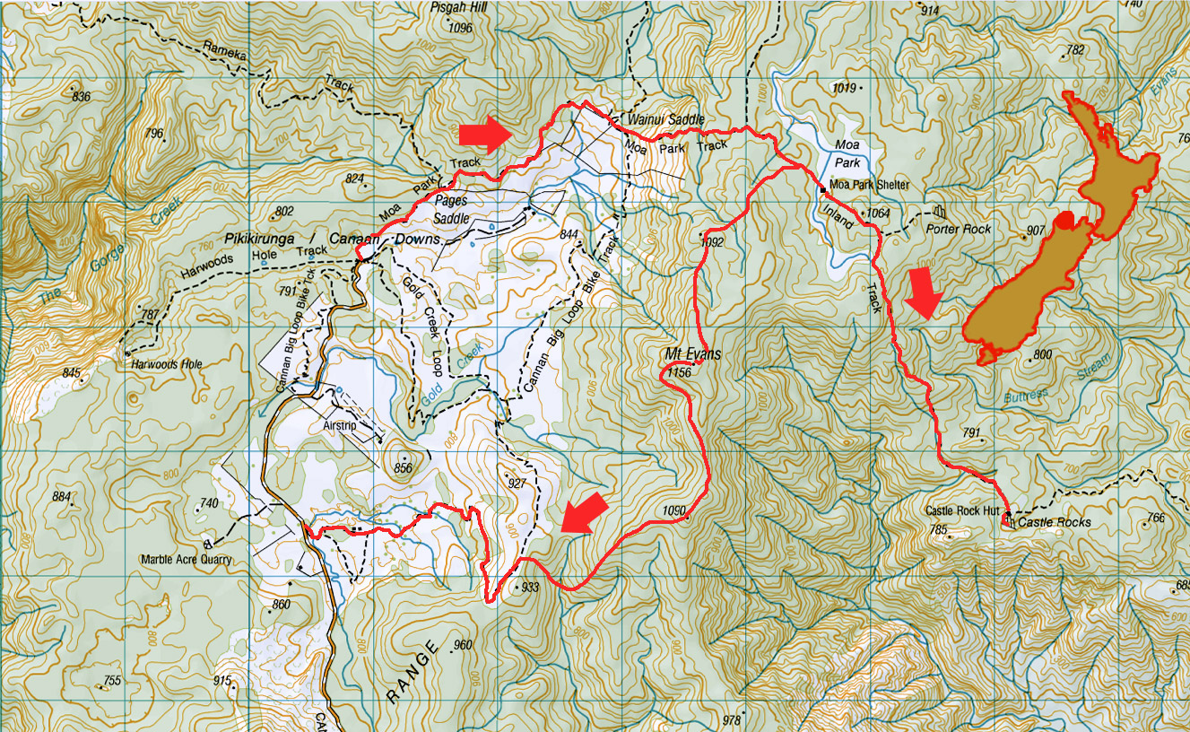 New Zealand mountain images and information. Mt Evans trip map