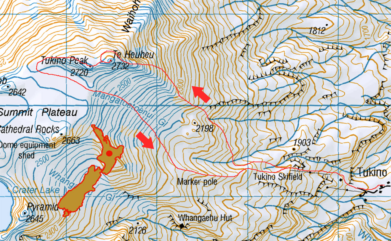 Te HeuHeu New Zealand mountain route map