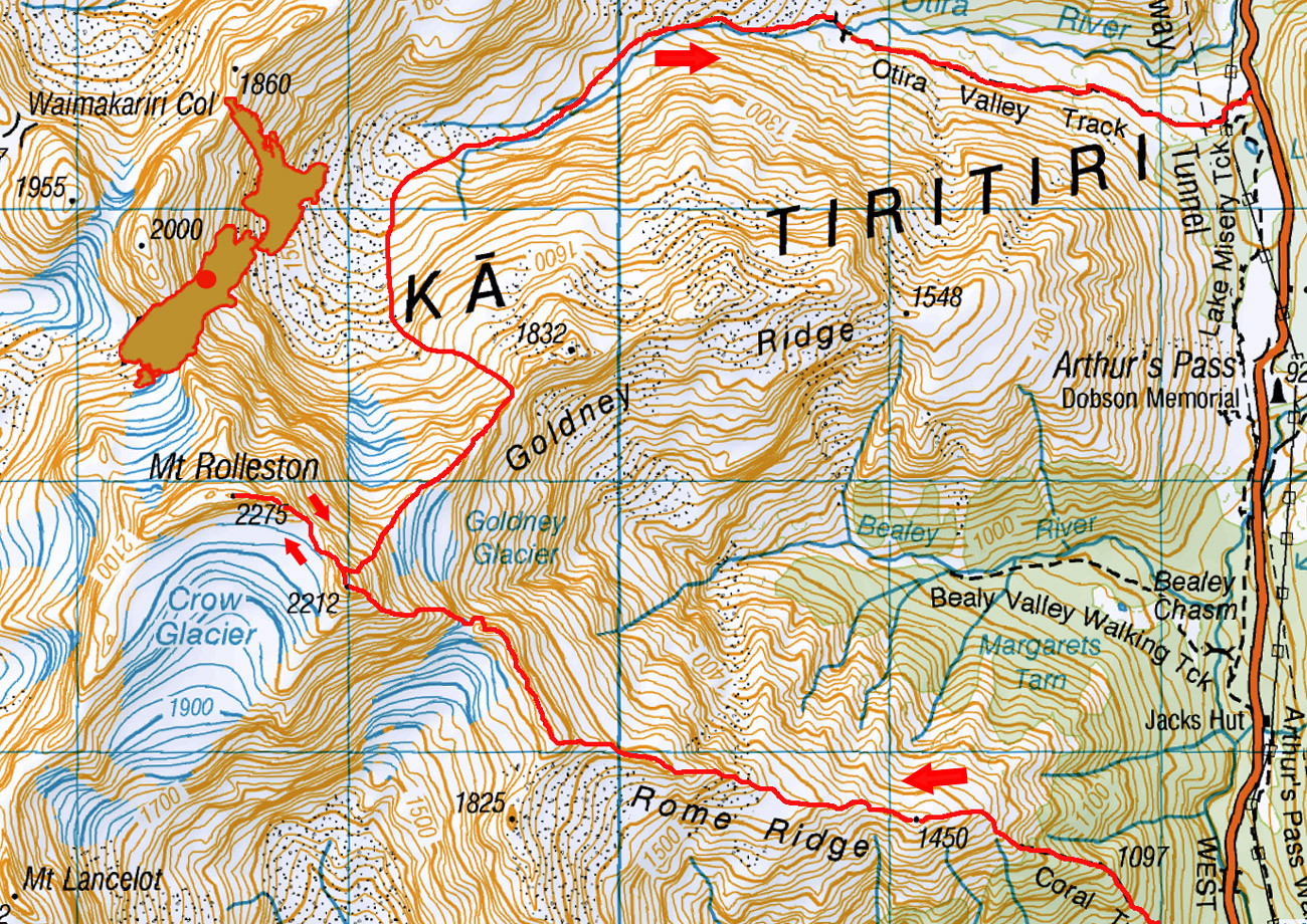 Route map Mt Rolleston via Rome ridge Arthurs Pass - occasionalclimber.co.nz