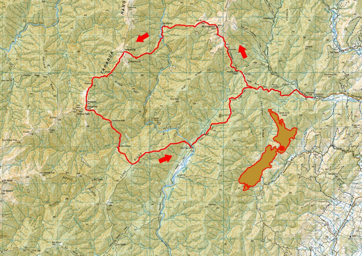 Tararua mountain trip map